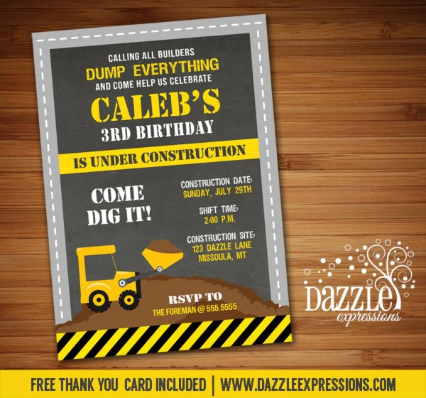 construction chalkboard birthday invitation free thank you card incl dazzle expressions
