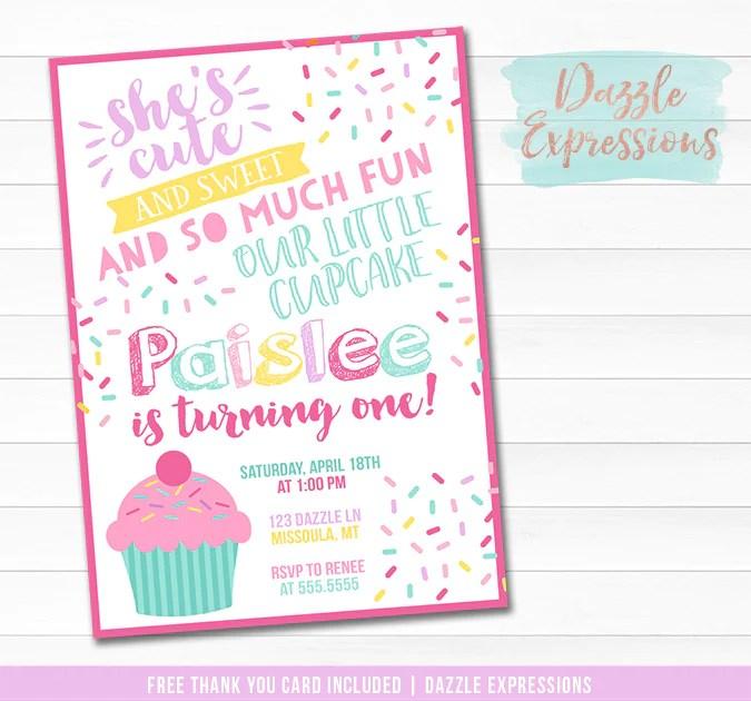 cupcake birthday invitation 1 free thank you card