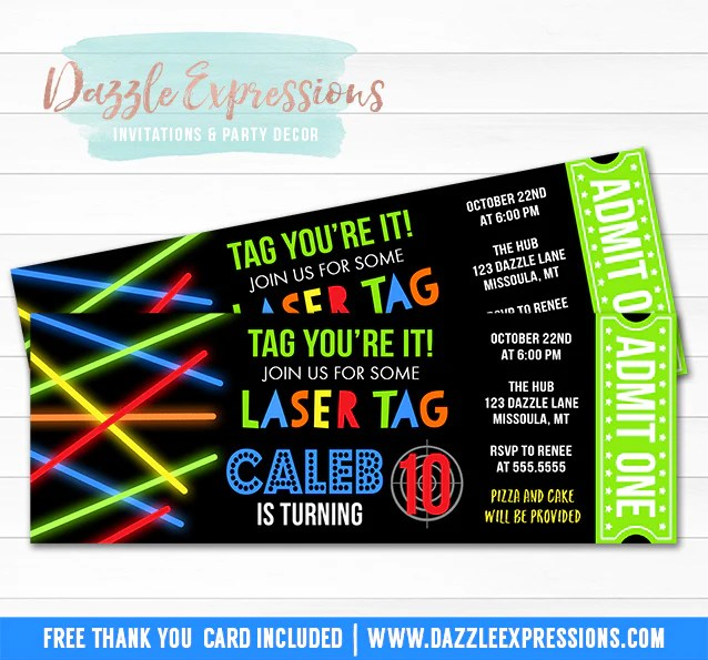 laser tag ticket invitation 1 free thank you card