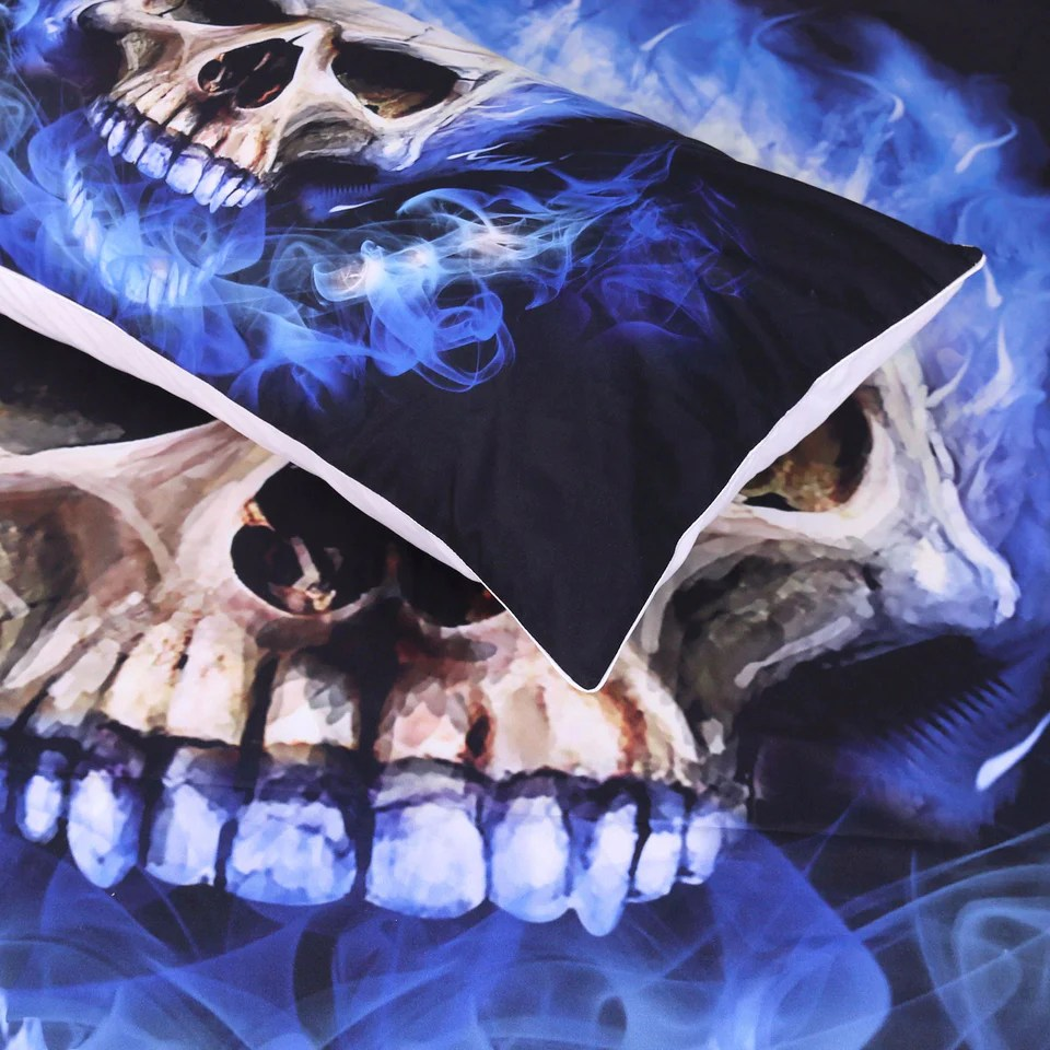 blue fire skull bedding