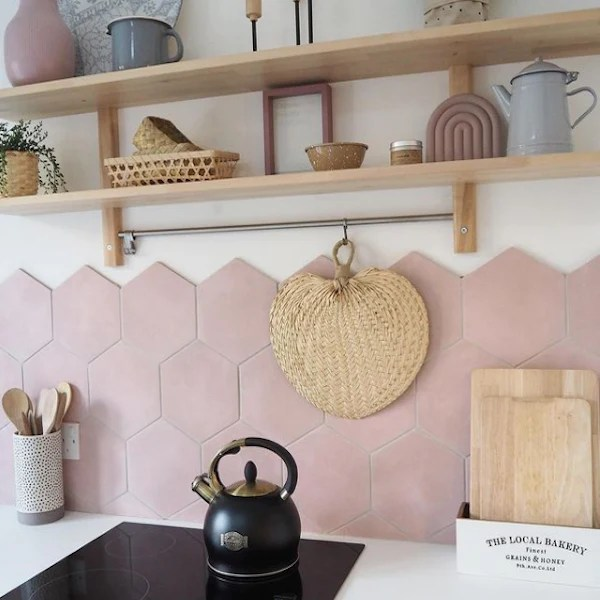 pink hex water lily base tiles 19 8x22 8cm