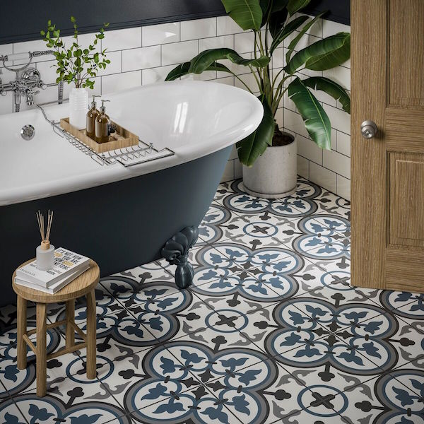 monaco blue patterned wall and floor tiles 25x25cm