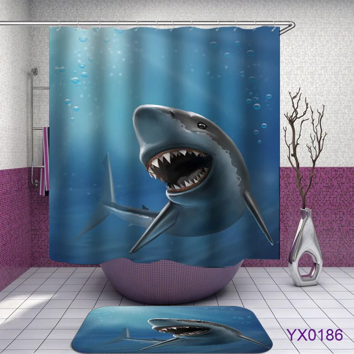 https www gingmoo com products shark shower curtains fabric cool blue polyester cloth print bathroom curtains