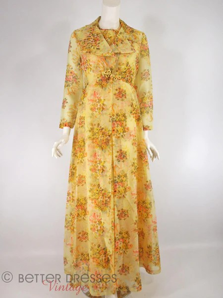 Vintage 1970s Yellow Floral Maxi Dress and Coat Hostess