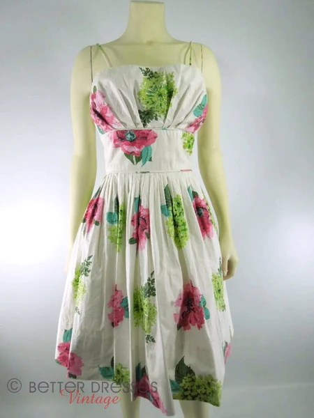 Vintage 50s Nipped Waist Shelf Bust Floral Sundress by Saba Jrs  Better Dresses Vintage