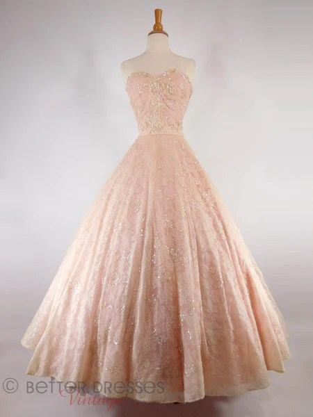 Vintage 1940s 1950s Strapless Ball Gown Pink Chantilly