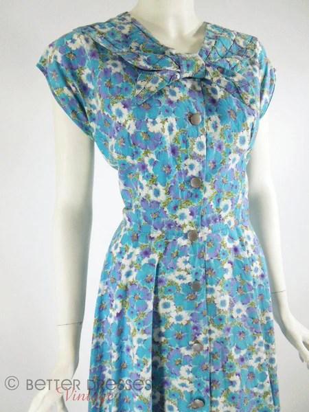 1940s 1950s House Dress Blue and Purple Floral Shirtwaist Kenrose  med lg  Better Dresses Vintage
