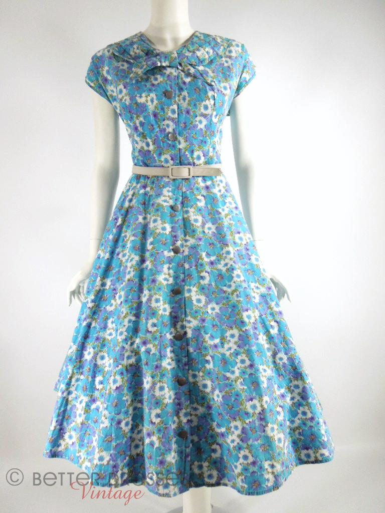 1940s 1950s House Dress Blue and Purple Floral Shirtwaist Kenrose  med lg  Better Dresses Vintage