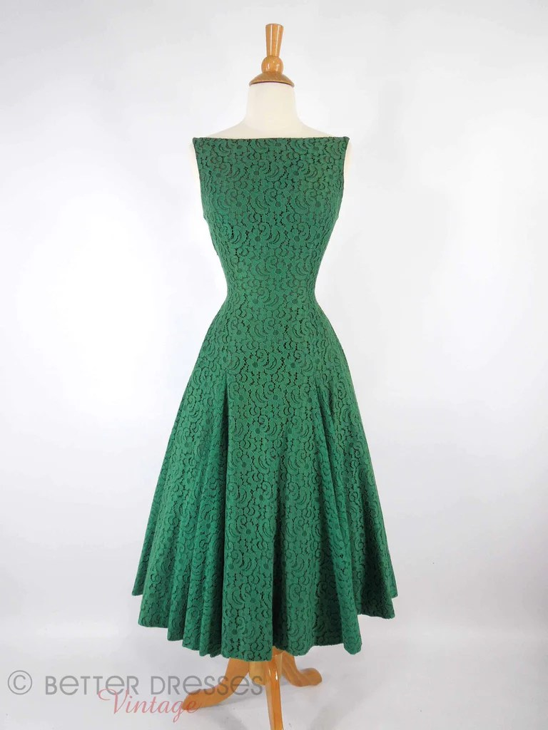 Vintage 50s Green Lace Dress With Full Circle Skirt  Better Dresses Vintage