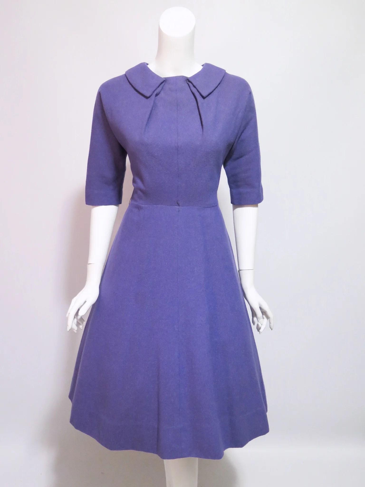 50s Purple Wool Full Skirt Nip Waist Dress - Sm