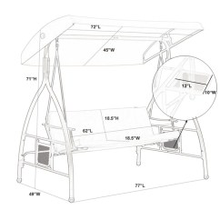 Swing Chair Drawing Improper Posture In Phi Villa 3 Person Patio Glider With Side Table Canopy