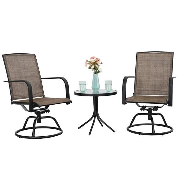 phi villa 3 piece swivel chairs set