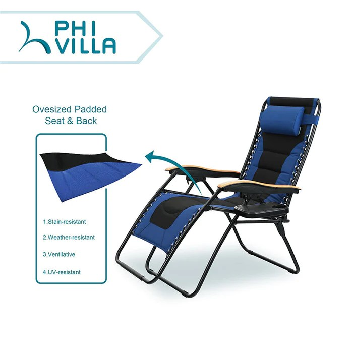 xl zero gravity chair with canopy footrest how to cane a phi villa oversized padded lounge cup holder