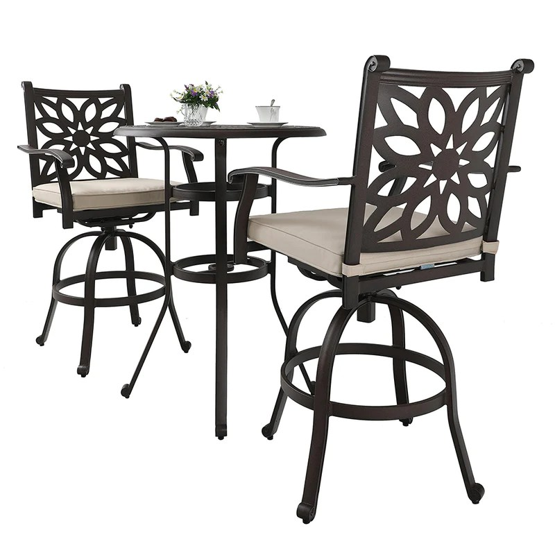 phi villa cast aluminum patio outdoor pub height swivel bistro bar stools chairs table