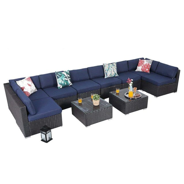 PHI VILLA 10 Piece Rattan Outdoor Sectional Sofa - Blue