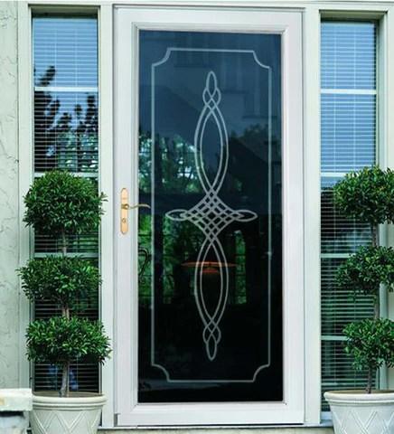 installed larson elegant bevel glass