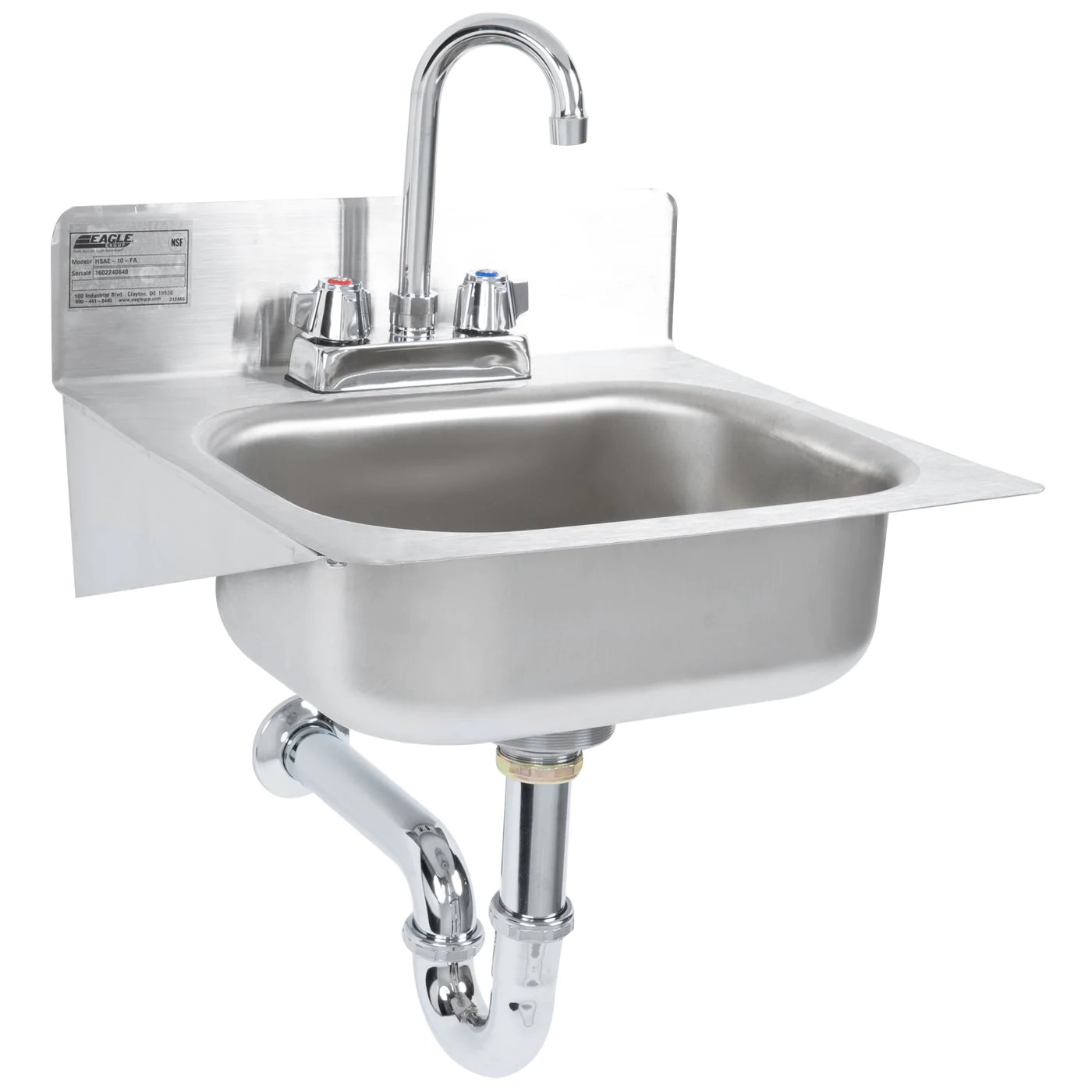 eagle group hsae 10 fa 14 hand sink with gooseneck faucet basket drain p trap and tail piece
