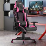 Lumbar Support And Headrest Massage Reclining Gaming Chair Pink Hw62040pi