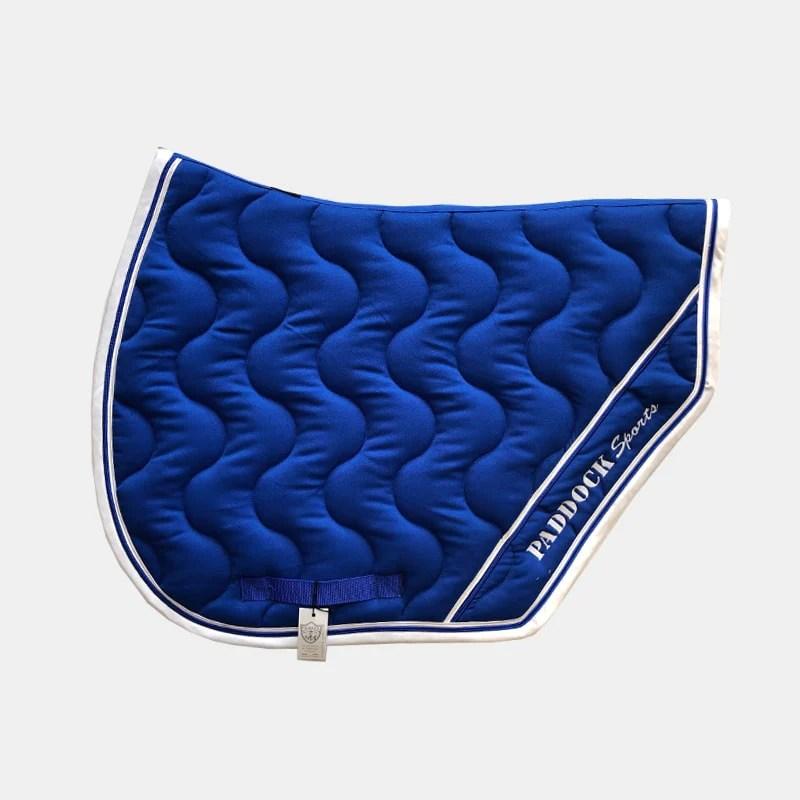 paddock sports tapis de selle sport bleu roi blanc
