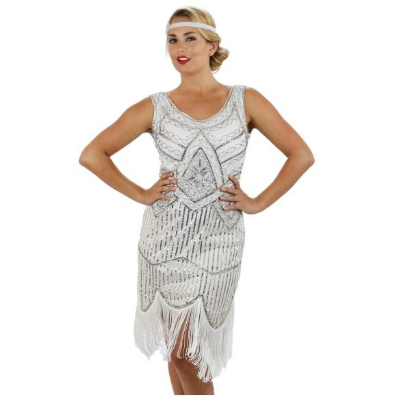 1920s White Beaded Sequin Stella Flapper Dress