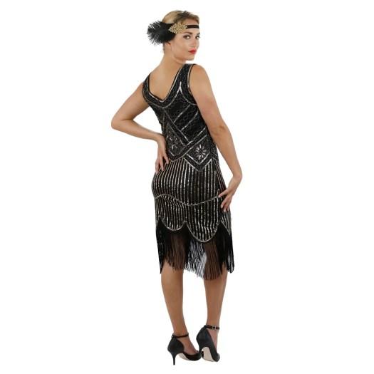 1920s Black Gold Beaded Sequin Stella Flapper Dress