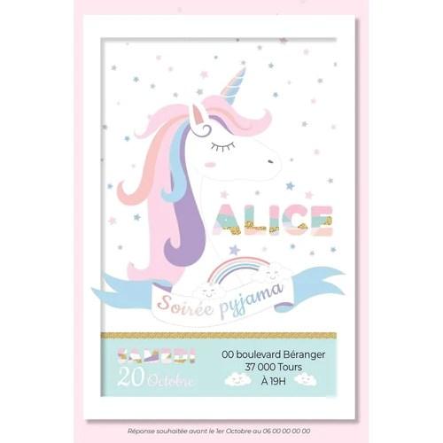 cartons invitation pour soiree pyjama de votre fille theme licorne