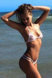 White Sheer Double Strap See Through Swimsuit G-String ...