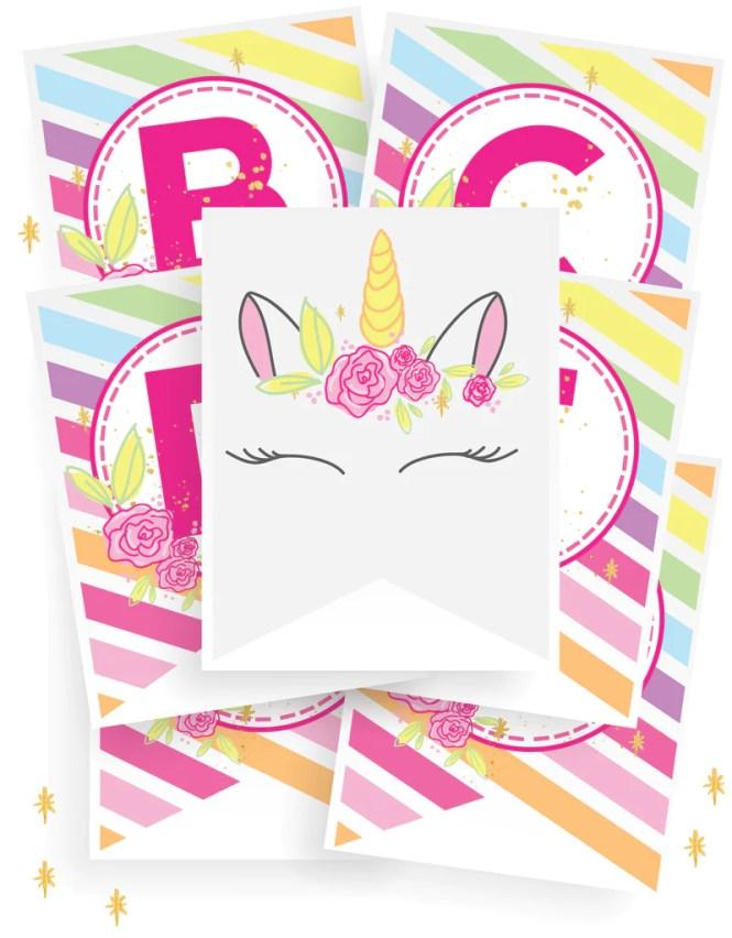 Unicorn party banner printables | Unicorn birthday party ideas