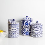Blue White Ceramic Kitchen Canister A Cottage In The City