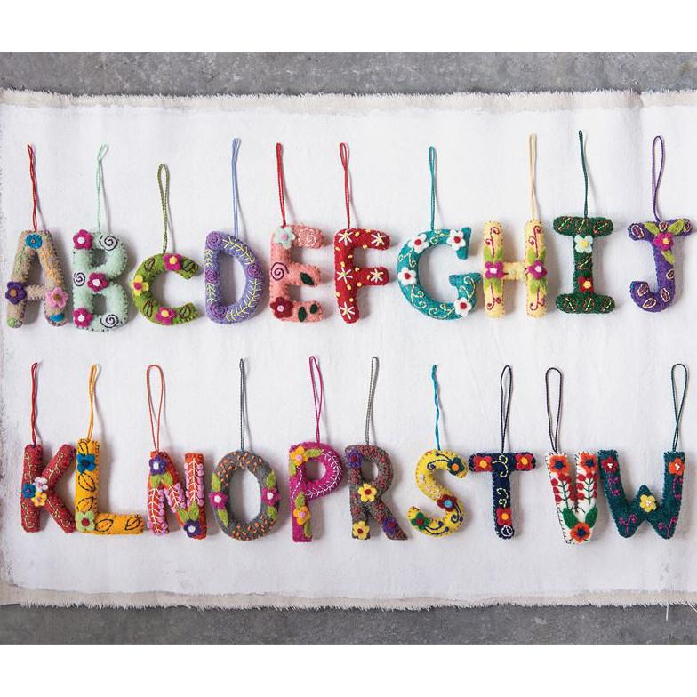 felt embroidered alphabet ornament