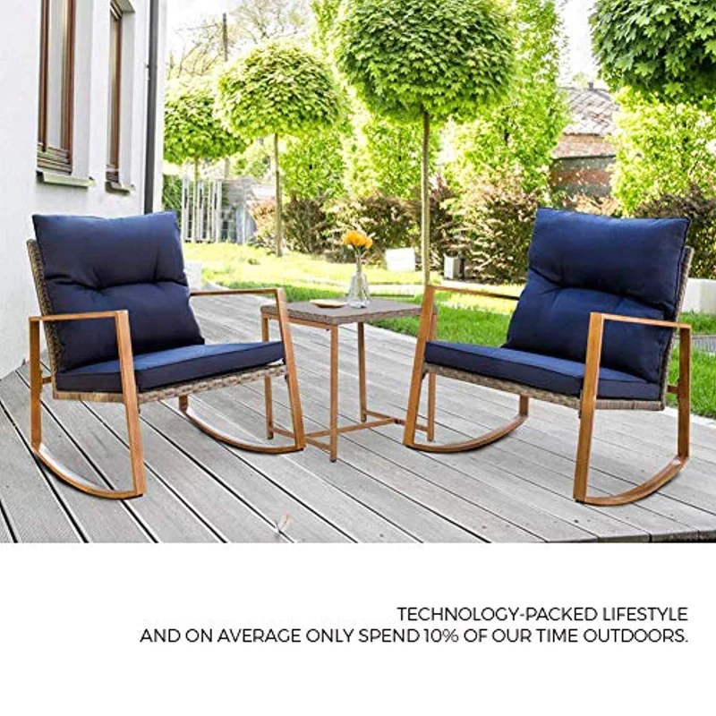 suncrown outdoor rocking chair set 3 piece patio bistro set grey wicker patio furniture w wood grain arm rest two chairs with glass coffee table
