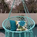 Macrame Hanging Chair Spearmint Woven Hammock Swing Retro Indoor Outdoor