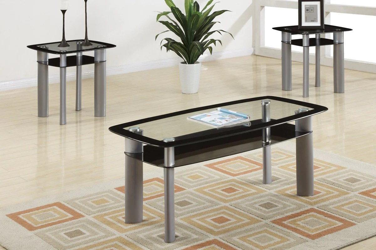amilo 3 piece tempered glass top coffee table end tables set