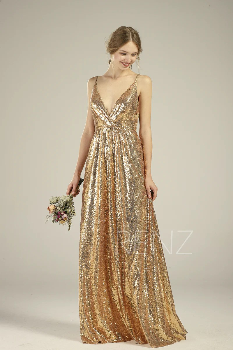 bridesmaid dress gold sequin