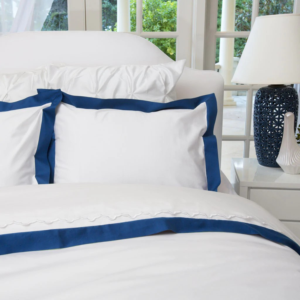 Navy And White Duvet Cover Linden Monaco Blue Crane Canopy