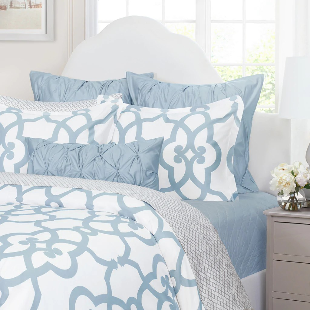 Geometric Blue And White Bedding The Florentine French Blue Crane Canopy