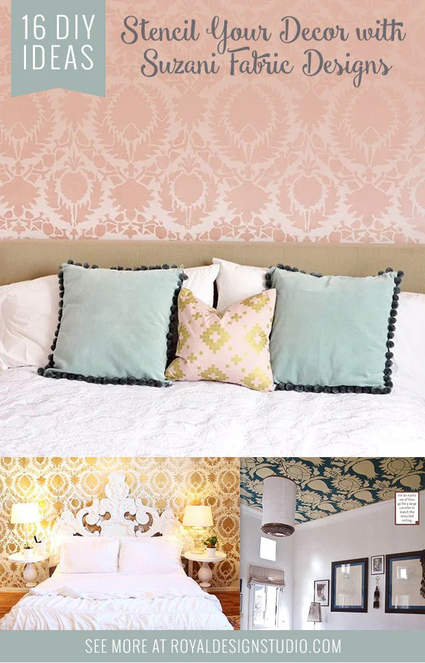 Best Girls Makeovers Wallpaper Stencil Your Diy Decor With Painted Suzani Fabric Designs