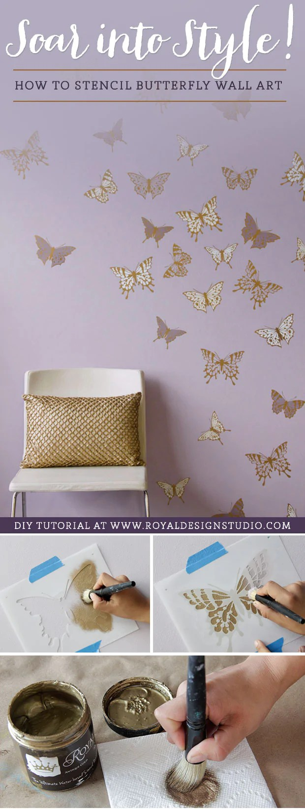 How To Stencil Tutorial Butterfly Wall Art For Cute Girls Room Decor Royal Design Studio Stencils