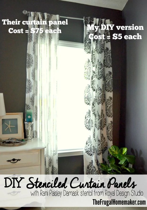 How To Stencil Tutorial DIY Fabric Damask Designer Curtains For