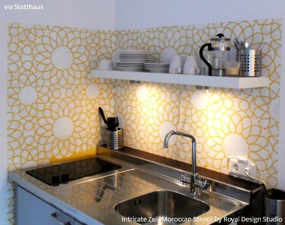 kitchen walls aide stand mixer 14 pretty easy ideas for diy decorating with stencils years people tried to talk me into tiling the more practical but as apartments are not so big and