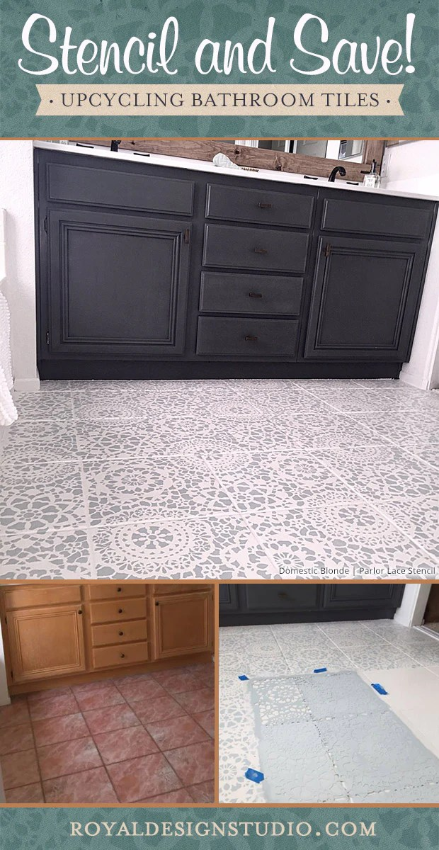 Tips For Painting Bathroom Tile With Floor Stencils