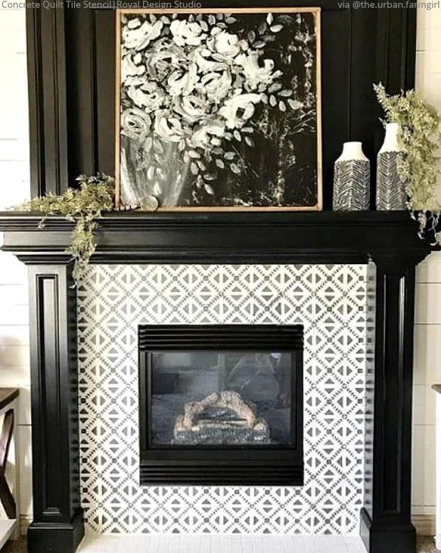 Sizzling Stencil Style Paint Your Fireplace Tiles Royal Design Studio Stencils