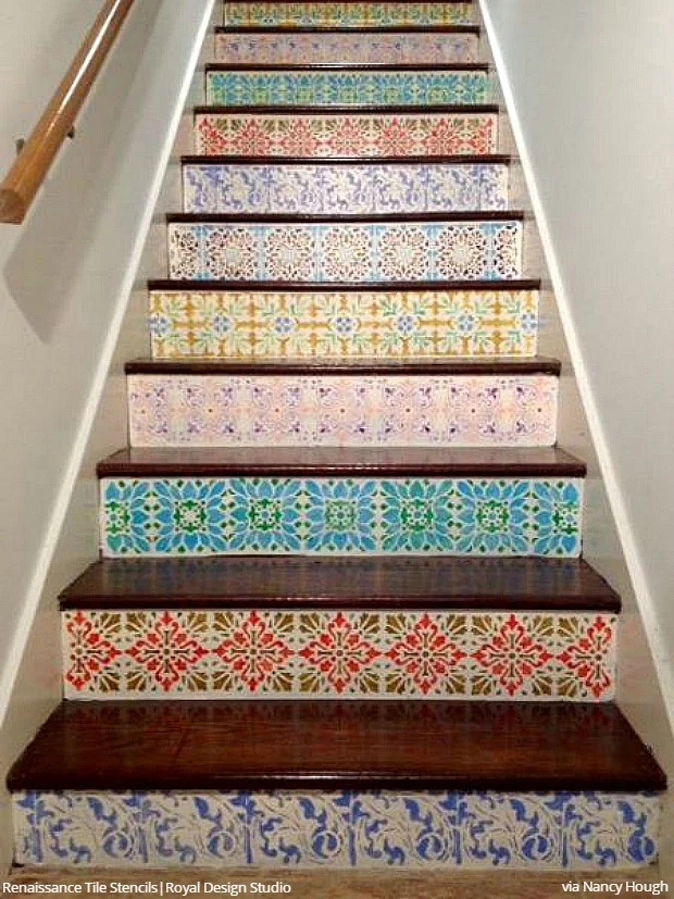12 Stencil Ideas For Your Stairs Paint Stair Risers With Diy | Wood Stairs With Tile Risers | Color Scheme | Creative | Stair Outdoors | Grey | Tile Residential