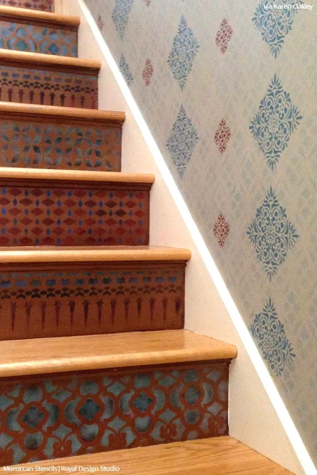 12 Stencil Ideas For Your Stairs Paint Stair Risers With Diy | Designs For Staircase Wall | Stairwell | Stylish | Luxury | Painting | Stone