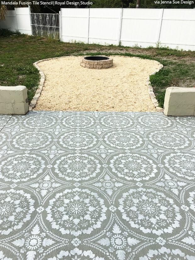 how to stencil paint a concrete patio