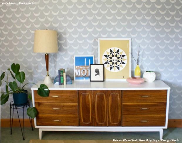 Modern Mid Century Room Makeover And Stenciled Accent Wall