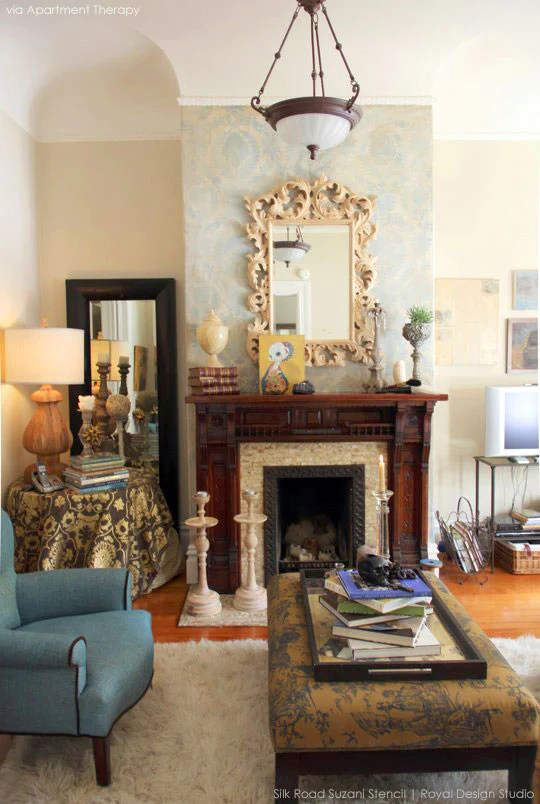DIY stencil pattern ideas for a stylish fireplace makeover updated mantle  Royal Design Studio