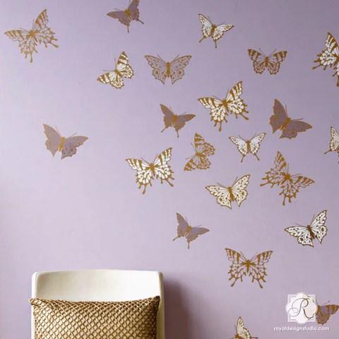 Modern Nursery Wallpaper Girl Wall Art Amp Wall Mural Stencils For Painting Diy Wall