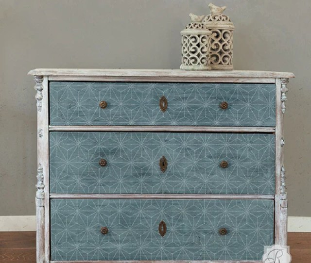 Painted Dresser Drawers With Geometric And Modern Asian Pattern Shibori Japanese Furniture Stencils Royal