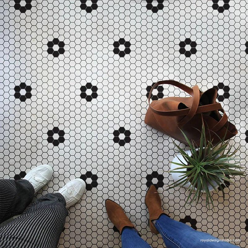 hexagon tile floor stencil